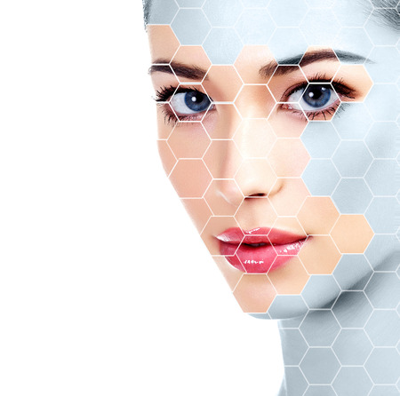 Beautiful girl with clean fresh skin, white background, skin treatment concept, rejuvenation