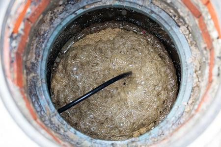 Closeup shot of a tank of sewerage system