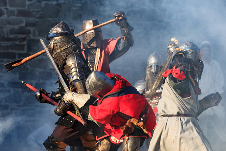 Medieval knights in severe battle action