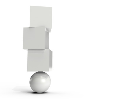 Three white boxes balancing on an orb