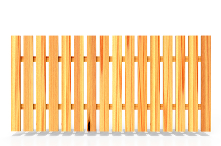 Wooden fence on white background, 3D rendering Stock Photo