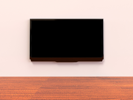 Modern LED TV on a wall Stock Photo