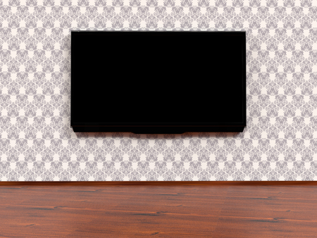 Modern LED TV on a wall, 3D rendering Stock Photo