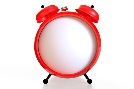 Alarm clock with an empty clock face on white background. 3D rendering Banco de Imagens