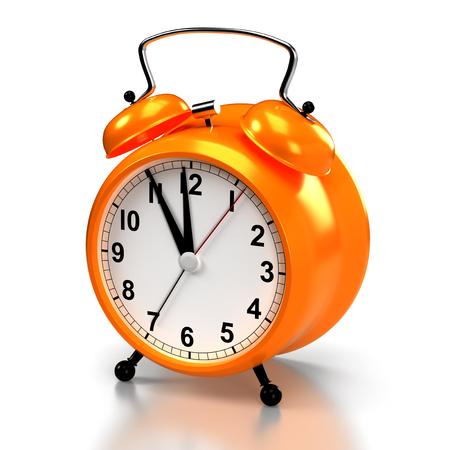 Alarm clock on white background. 3D rendering Banco de Imagens