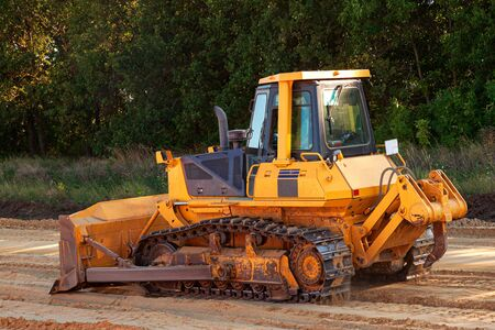 Bulldozer in action on a construction site