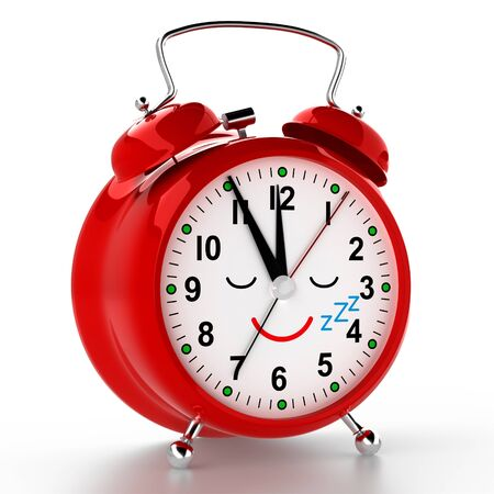 Funny alarm clock on white background. 3D rendering