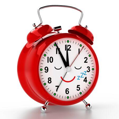 Funny alarm clock on white background. 3D rendering Stock fotó