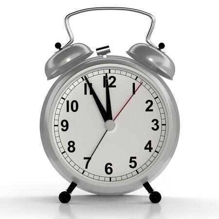 Alarm clock on white background. 3D rendering 版權商用圖片