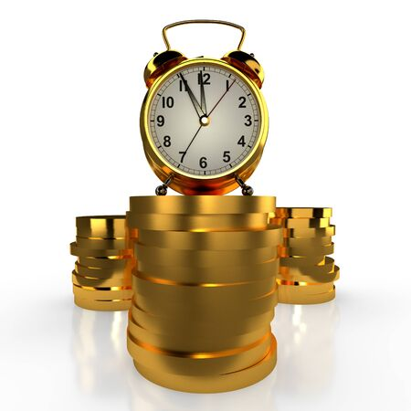 Golden alarm clock standing on a stack of golden coins. White background. Time is money concept. 3D rendering