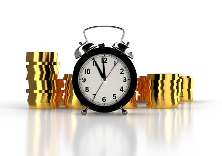 alarm clock and stacks of golden coins. White background. Time is money concept. 3D rendering