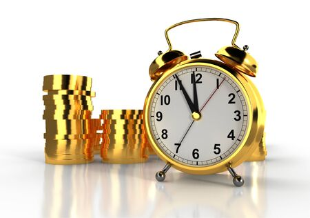 Golden alarm clock and stacks of golden coins. White background. Time is money concept. 3D rendering 版權商用圖片