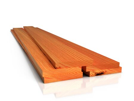 Stack of wooden boards on white floor, isolated. 3D rendering Фото со стока