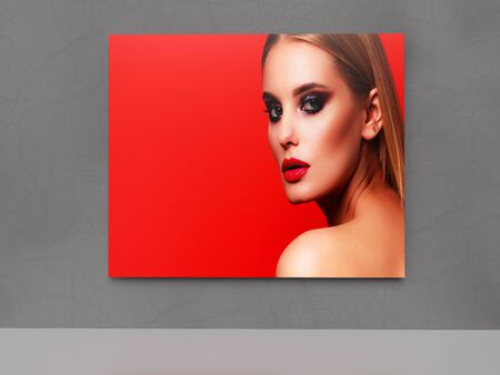 Picture of pretty woman on a grey wall. 3D rendering