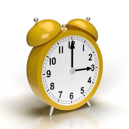Abstract alarm clock on white background. 3D rendering. Banque d'images - 138555387