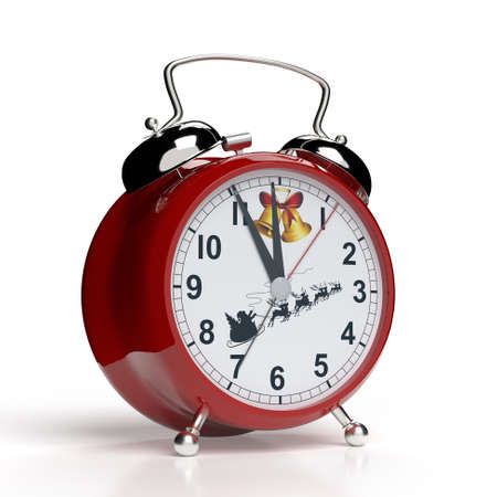 It's christmas time. Alarm clock isolated on white background. 3D rendering.