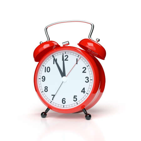 Abstract alarm clock on white background. 3D rendering