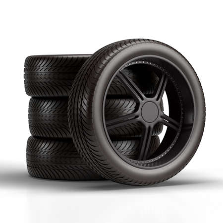 Car wheels isolated on white background. 3D rendering.