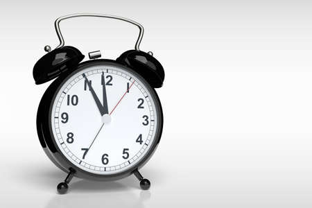 Abstract alarm clock against a grey background with copyspace. 3D rendering