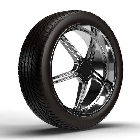 Car wheel isolated on white background. 3D rendering Standard-Bild