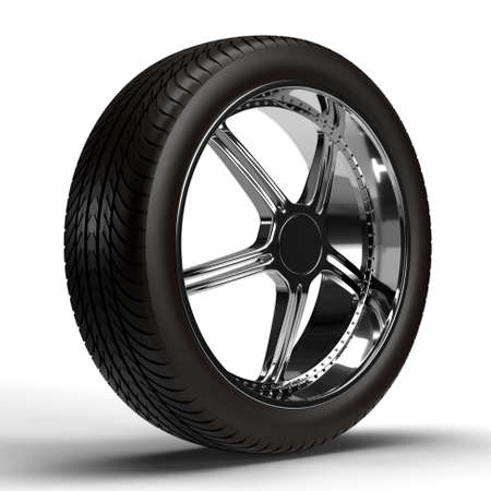 Car wheel isolated on white background. 3D rendering Фото со стока