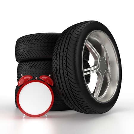 Car wheels and red alarm clock isolated on white background. 3D rendering