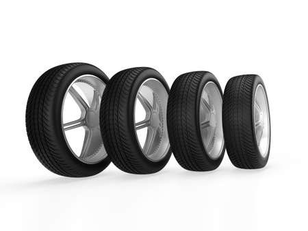 Car wheels isolated on white background. 3D rendering