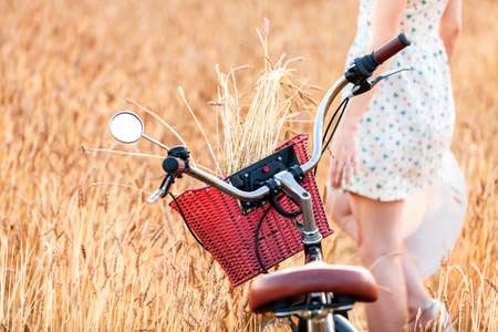 Woman and bicycle are standing in a field among wheat ears.