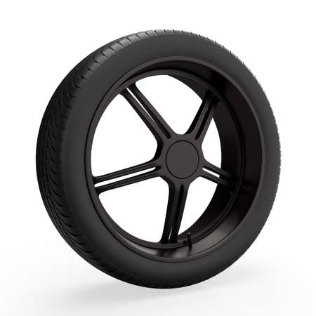 Car wheel isolated on white background. 3D rendering