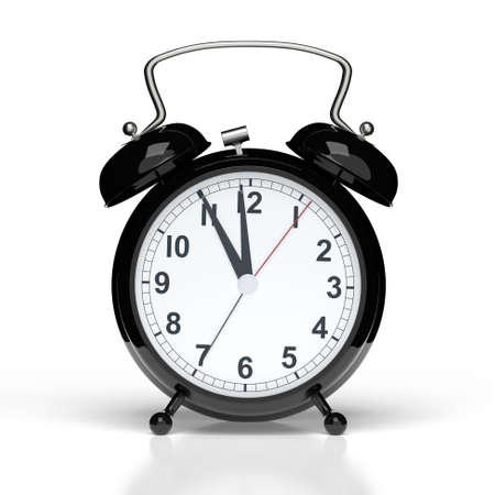 Abstract alarm clock on white background. 3D rendering Stock Photo