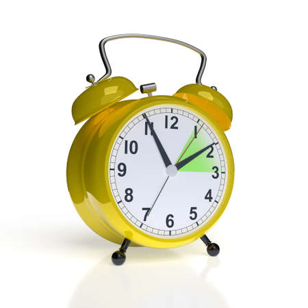 Daylight saving time concept. Alarm clock isolated on white background. 3D rendering Standard-Bild