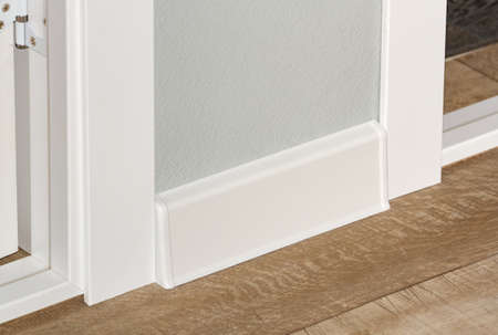 plastic white floor plinth installation Stock Photo