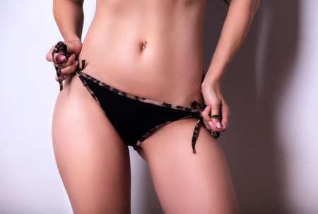 Sexy woman in black panties