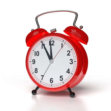 Abstract alarm clock on white background. 3D rendering.