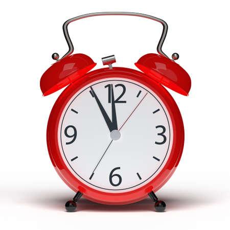 Alarm clock on white background. 3D rendering Stock Photo