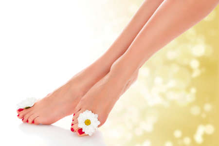 Beautiful female legs with daisy flower on golden blurred background.