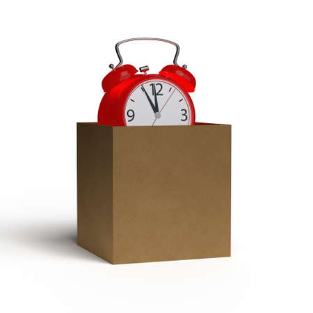 Alarm clock in a cardboard box on white background. 3D rendering