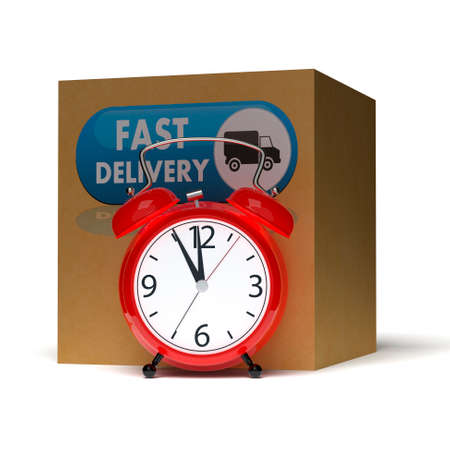 Alarm clock and big cardboard box on white background. 3D rendering