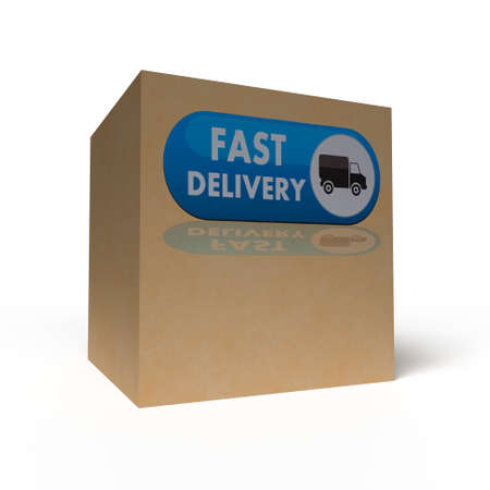 Big cardboard box on white background. 3D rendering Stock Photo