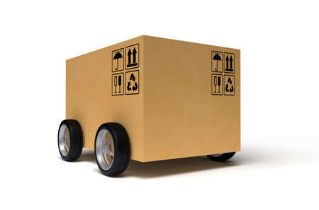 Cardboard box on wheels isolated on white background. 3D rendering