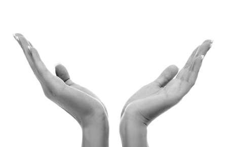 Female hands on white background Stock Photo