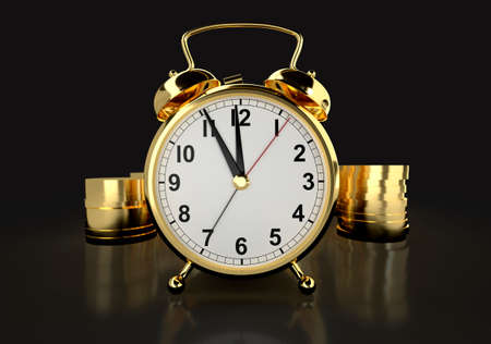 Time is money concept. Alarm clock and golden coins against black background. 3D rendering Stock Photo