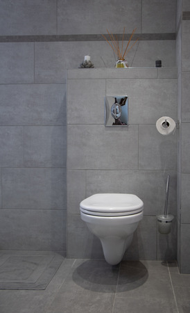 suspended toilet, in shabby chic style, gray and white tones Banco de Imagens