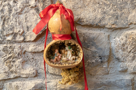 Christmas crib in a calabash South of France