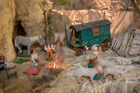 Detail of a Christmas crib, campfire in santon of provence (traditional figurine from the south of France for Christmas cribs