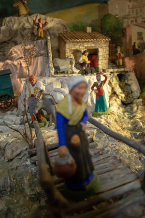 Santons de Provence (traditional figurine from the south of France for Christmas cribs), details of a Christmas crib