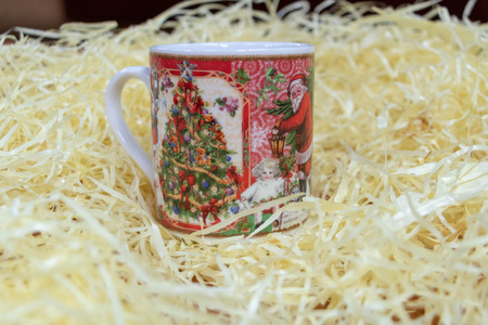 Coffee cup with christmas decoration