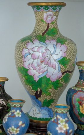 Collection of Chinese cloisonn?, vases and eggs