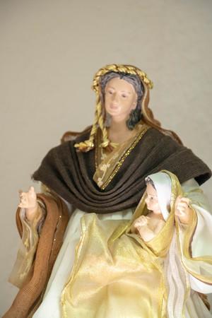 Virgin Mary and baby Jesus in a Provencal Christmas crib Banco de Imagens