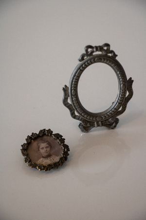miniature mirror frame with medallion picture of young woman shabby chic